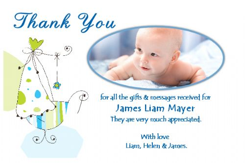 10 Personalised Baby Birth Thankyou PHOTO Cards N163